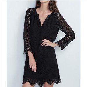 Velvet by Graham Carla Eyelet Black Dress Medium